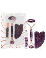Amethyst beauty set : roller do twarzy + płytka gua sha + buteleczka roll-on